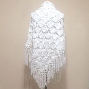 Vintage Handmade Crochet Tasseled Shawl